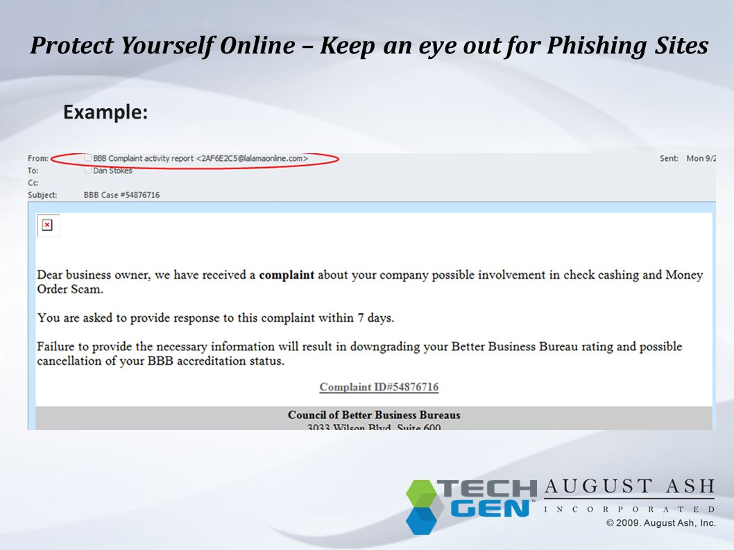 Protect Yourself Online – Keep an eye out for Phishing Sites Example: