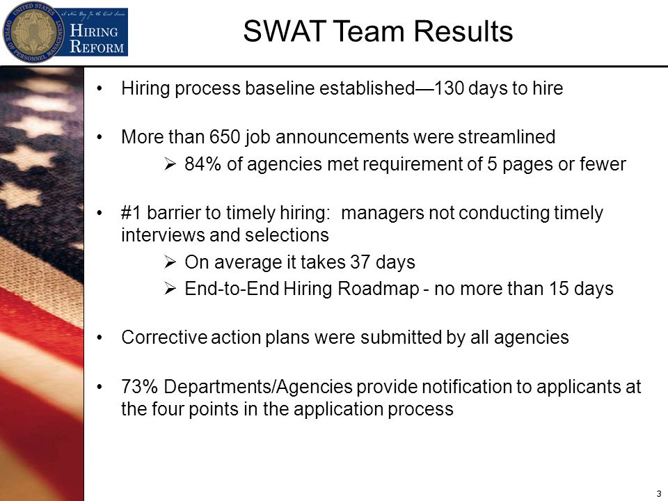 33 Hiring process baseline established130 days to hire More than 650 job announcements were streamlined 84% of agencies met requirement of 5 pages or