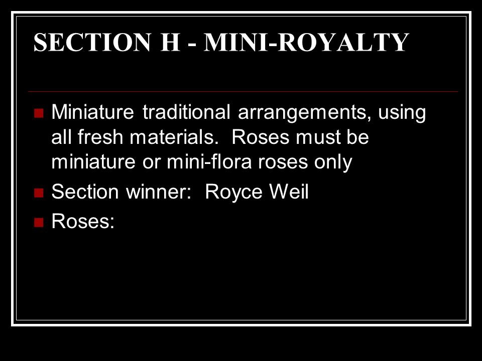 SECTION H - MINI-ROYALTY Miniature traditional arrangements, using all fresh materials.