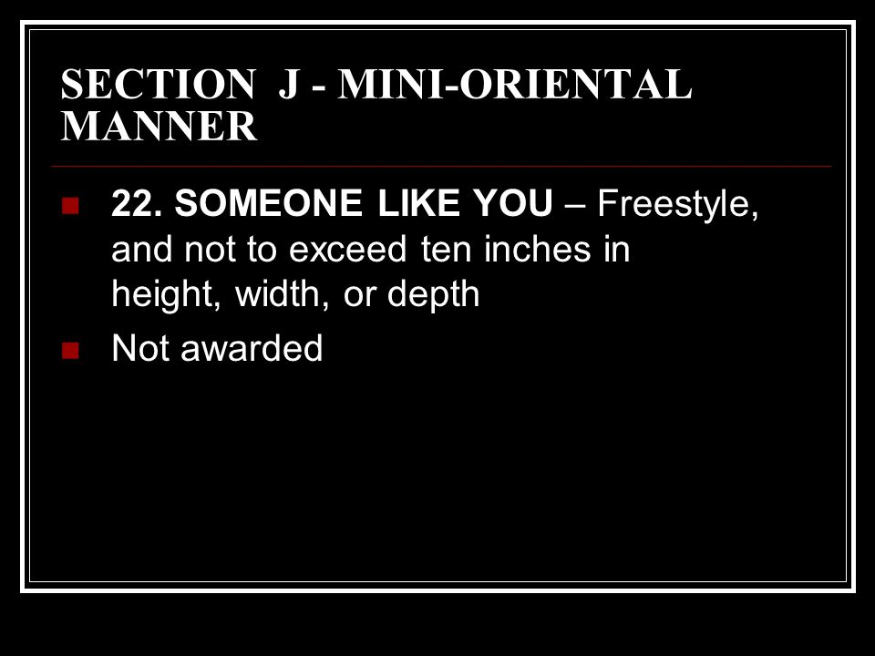 SECTION J - MINI-ORIENTAL MANNER 22.