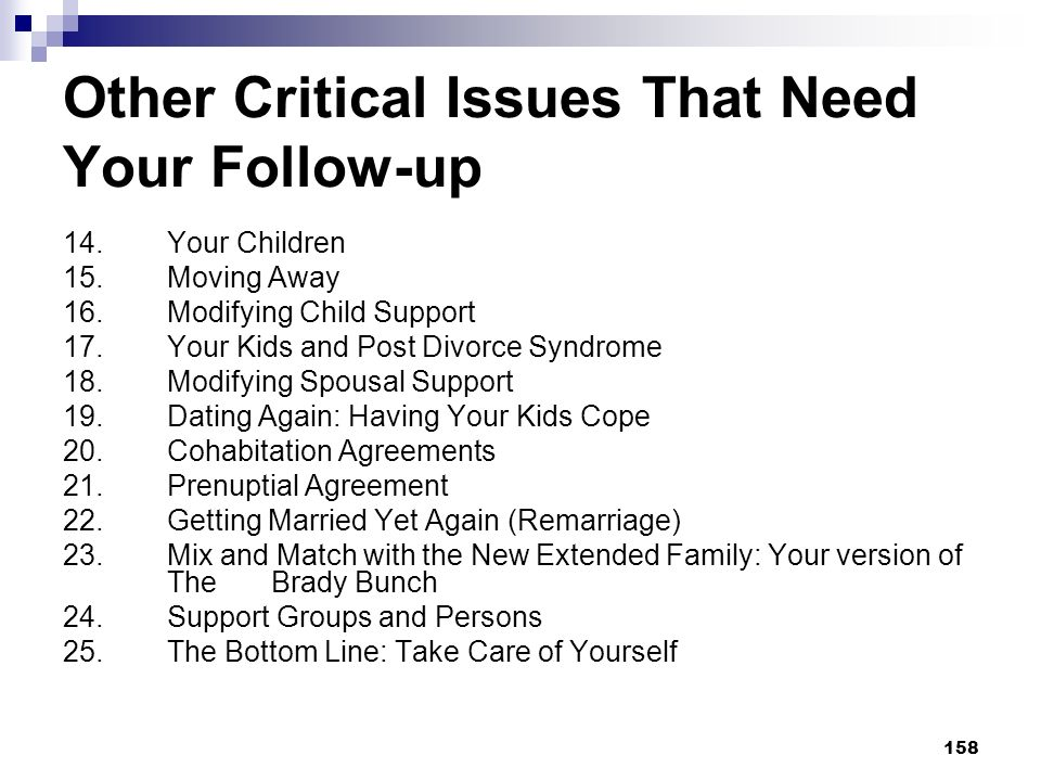 158 Other Critical Issues That Need Your Follow-up 14. Your Children 15. Moving Away 16. Modifying Child Support 17. Your Kids and Post Divorce Syndro