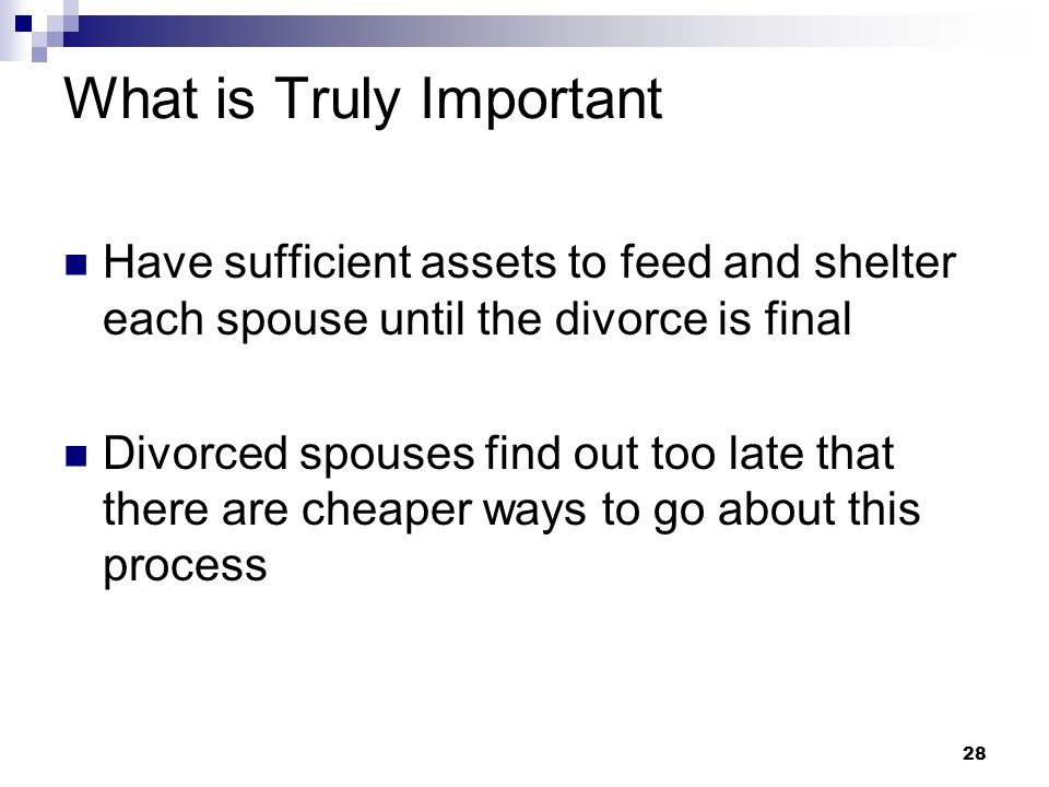 28 What is Truly Important Have sufficient assets to feed and shelter each spouse until the divorce is final Divorced spouses find out too late that t
