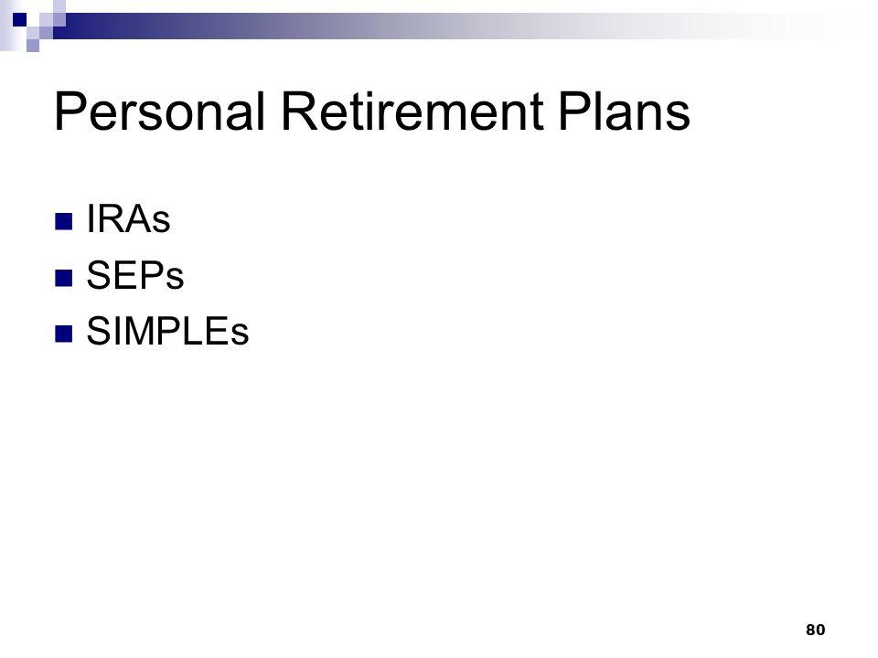 80 Personal Retirement Plans IRAs SEPs SIMPLEs