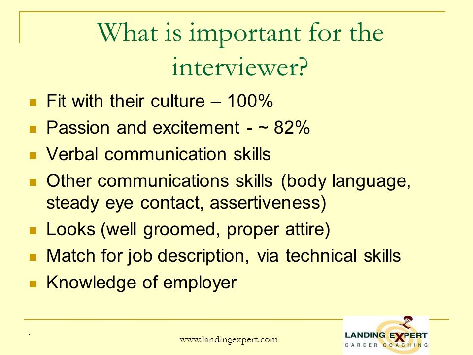 www.landingexpert.com What is important for the interviewer.