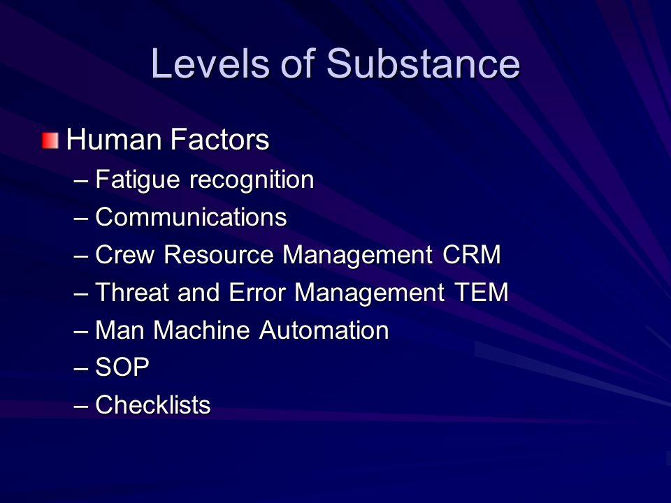Levels of Substance Human Factors –Fatigue recognition –Communications –Crew Resource Management CRM –Threat and Error Management TEM –Man Machine Aut