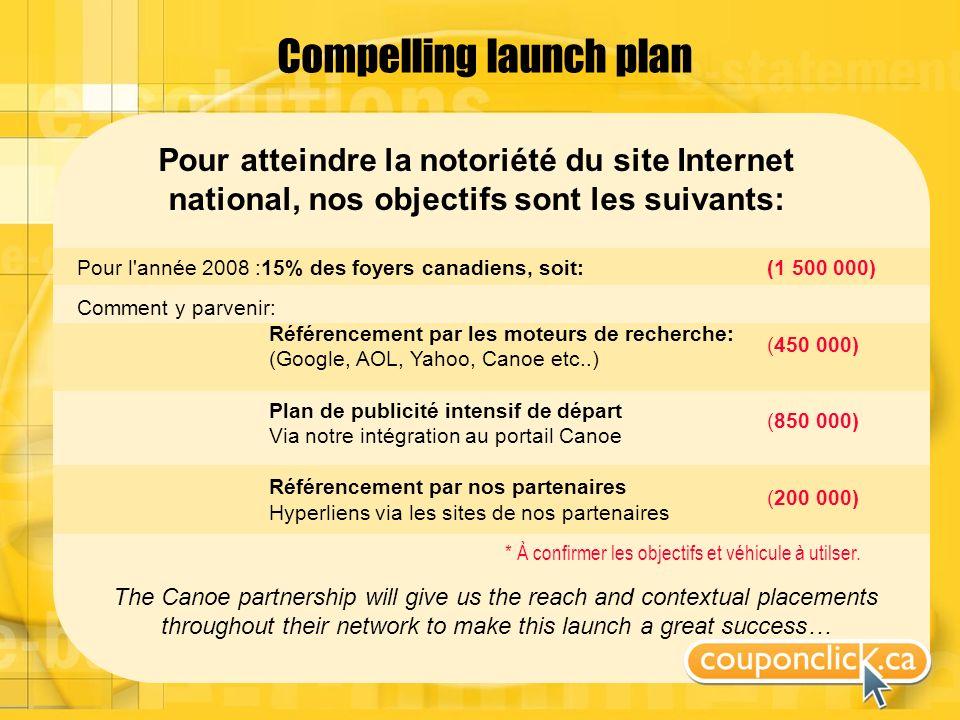 Compelling launch plan Pour atteindre la notoriété du site Internet national, nos objectifs sont les suivants: * À confirmer les objectifs et véhicule