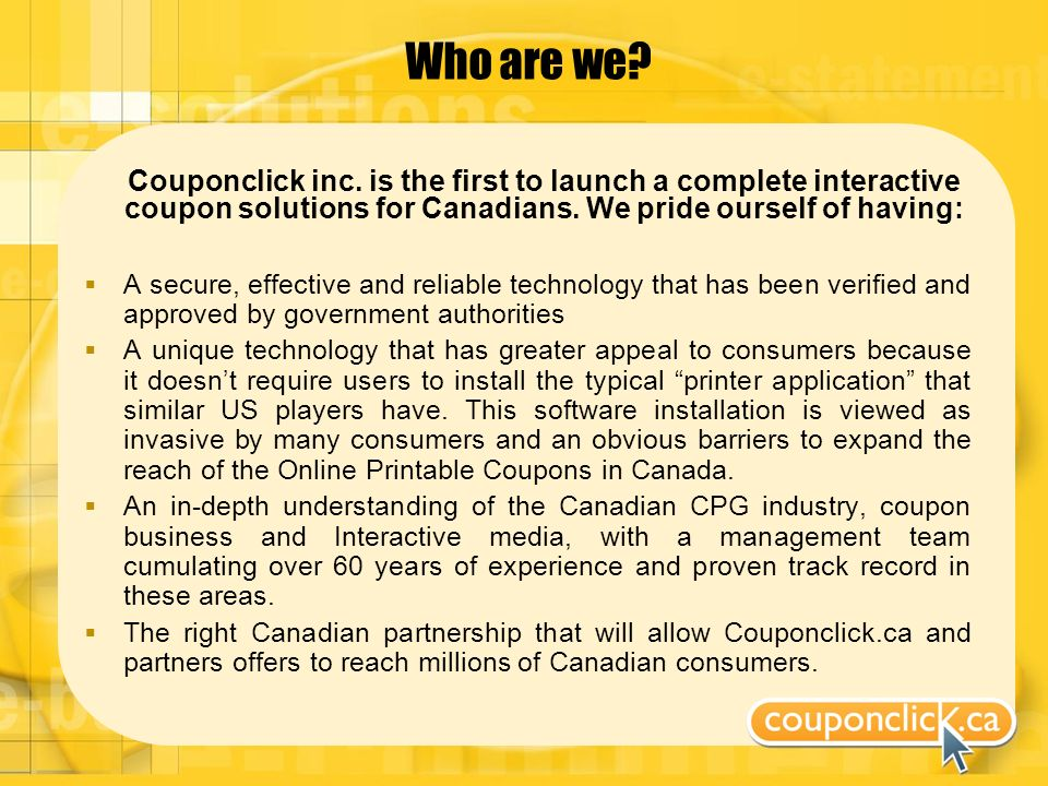 Who are we. Couponclick inc.