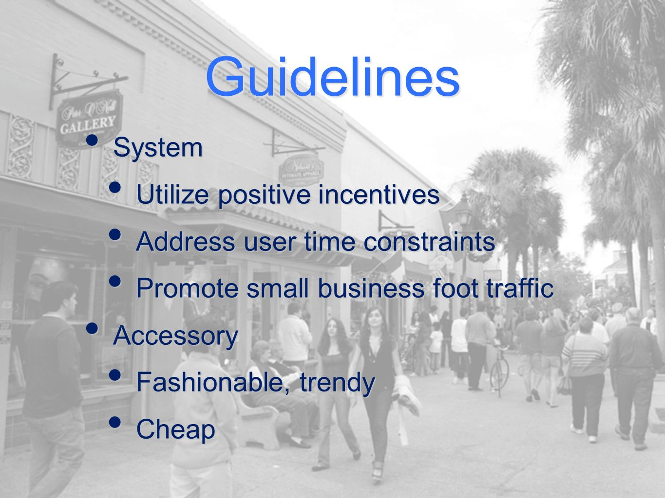 Guidelines System System Utilize positive incentives Utilize positive incentives Address user time constraints Address user time constraints Promote small business foot traffic Promote small business foot traffic Accessory Accessory Fashionable, trendy Fashionable, trendy Cheap Cheap