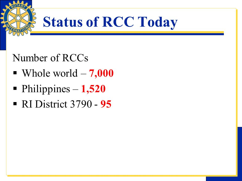 Status of RCC Today Number of RCCs Whole world – 7,000 Philippines – 1,520 RI District 3790 - 95