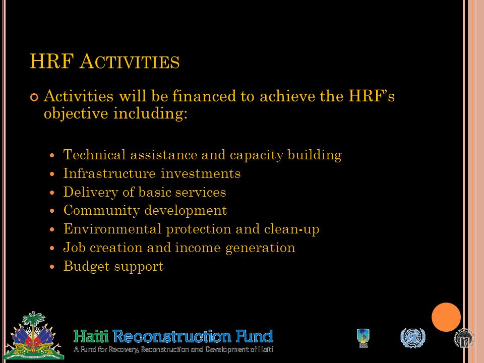 K EY HRF P RINCIPLES Government leadership Filling gaps in reconstruction finance Adhering to high quality standards Building on existing capacity Emb
