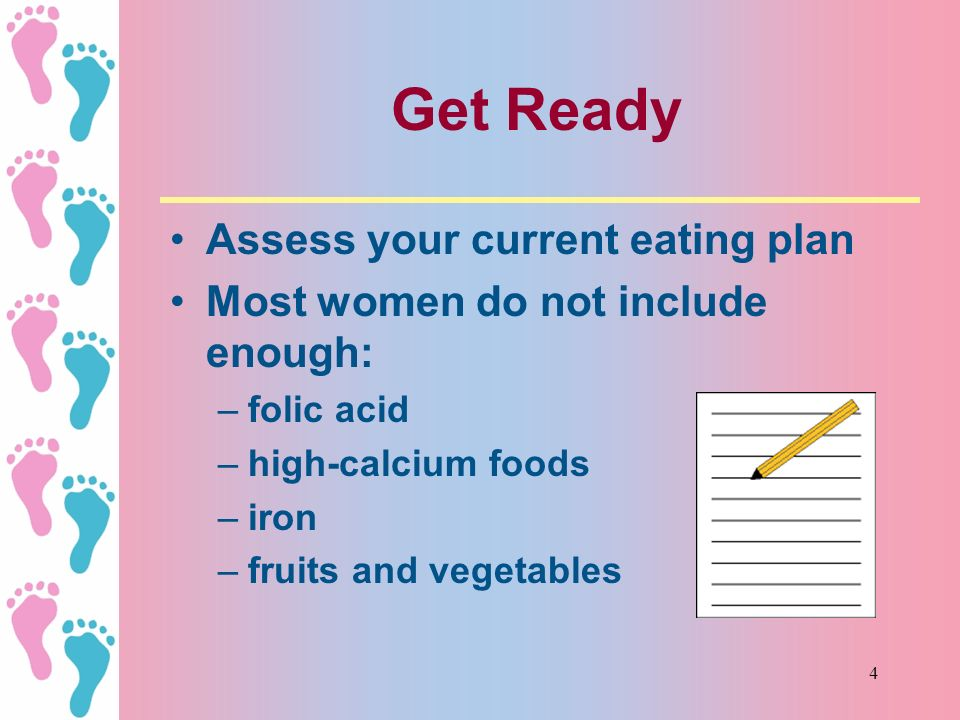 14 Healthy Pregnancy Eating Plan (HPEP) 8 or more servings of complex carbohydrates 4 or more servings of vegetables 3 or more servings of fruits 3 servings of dairy 2-3 servings of extra-lean meat, poultry, fish and/or legumes