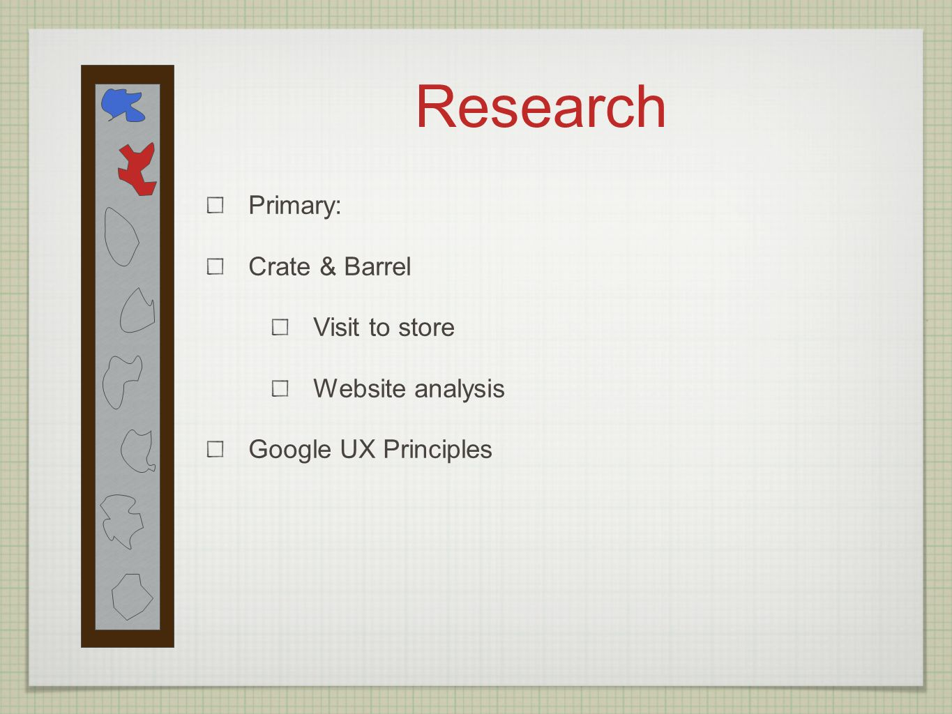 Research Primary: Crate & Barrel Visit to store Website analysis Google UX Principles