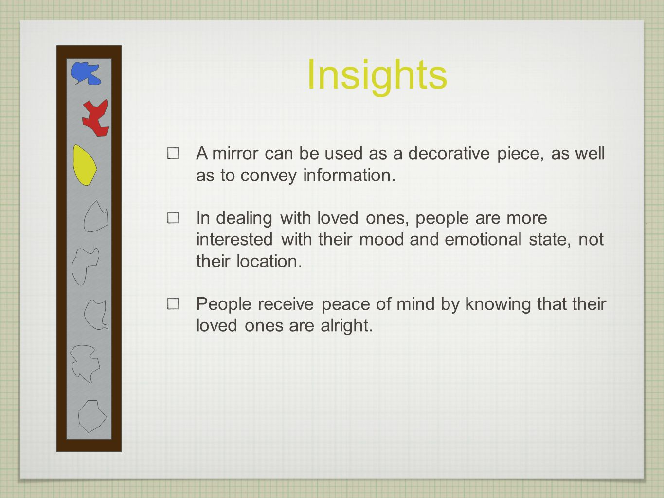 Insights A mirror can be used as a decorative piece, as well as to convey information.