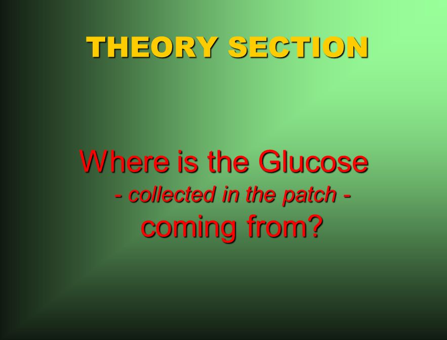 THEORY SECTION Where is the Glucose - collected in the patch - coming from