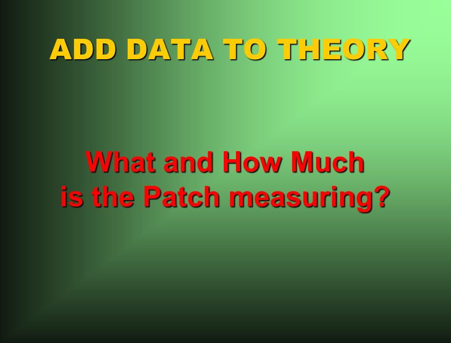 ADD DATA TO THEORY What and How Much is the Patch measuring