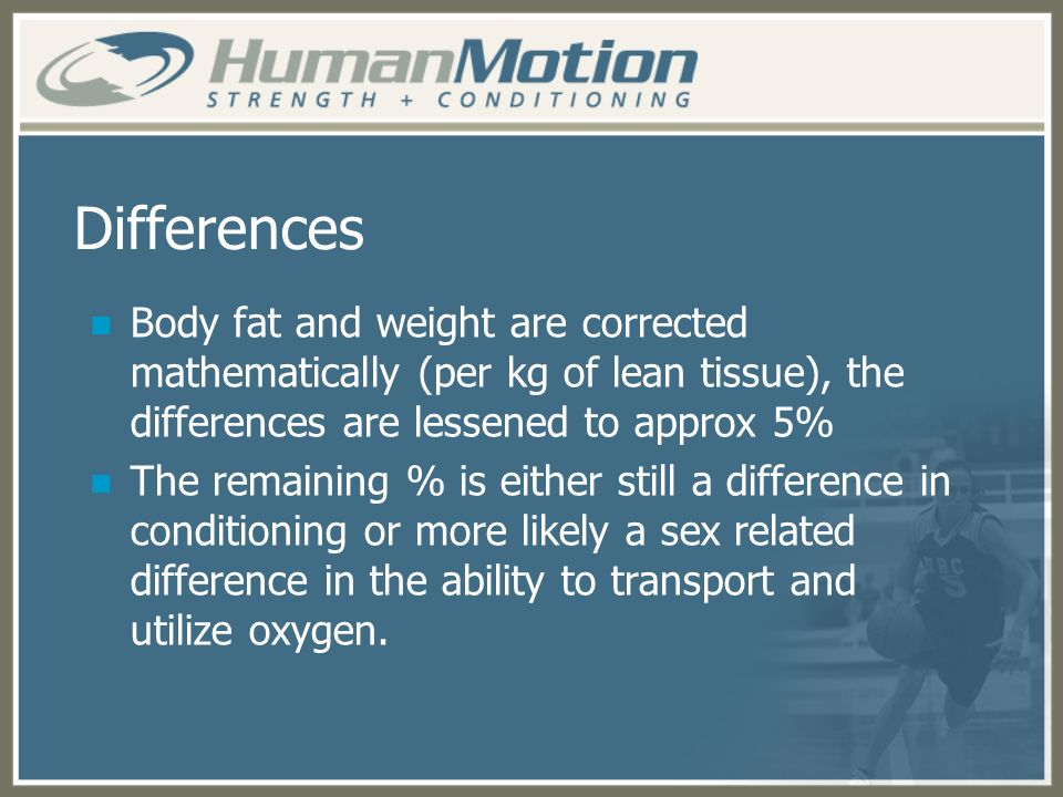 Differences Body fat and weight are corrected mathematically (per kg of lean tissue), the differences are lessened to approx 5% The remaining % is eit