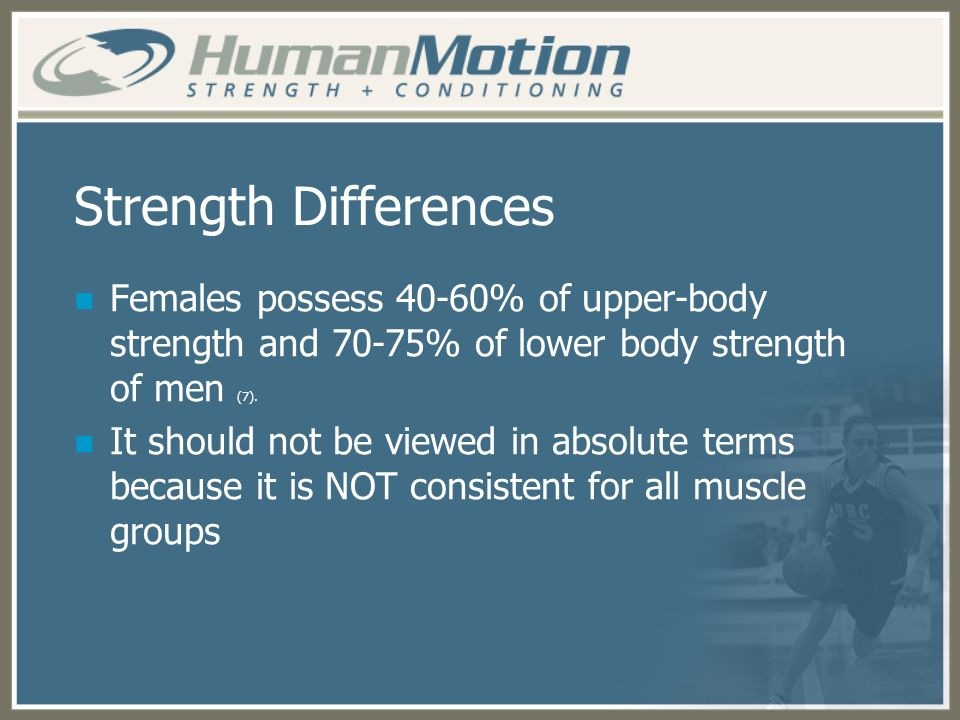 Strength Differences Females possess 40-60% of upper-body strength and 70-75% of lower body strength of men (7). It should not be viewed in absolute t