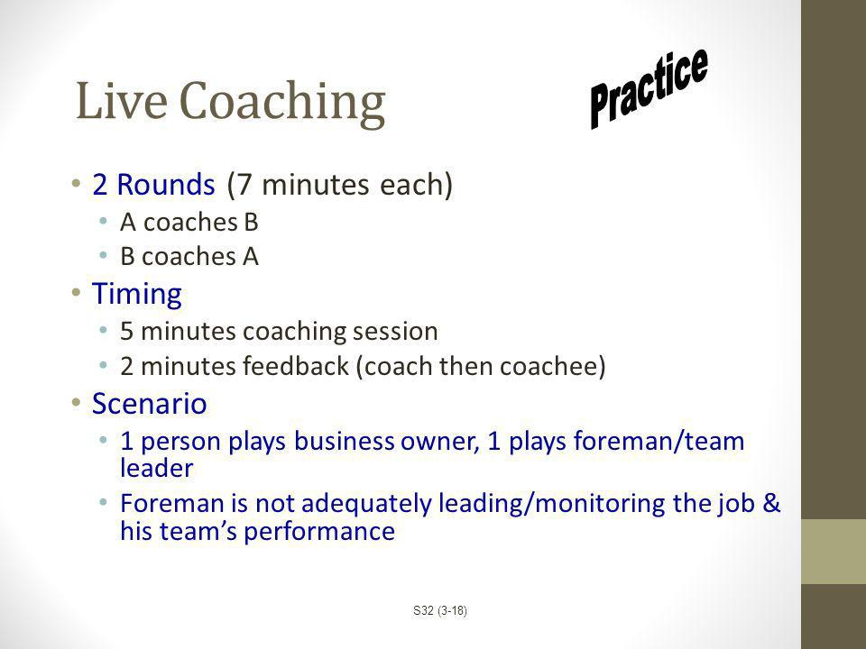 Live Coaching 2 Rounds (7 minutes each) A coaches B B coaches A Timing 5 minutes coaching session 2 minutes feedback (coach then coachee) Scenario 1 p