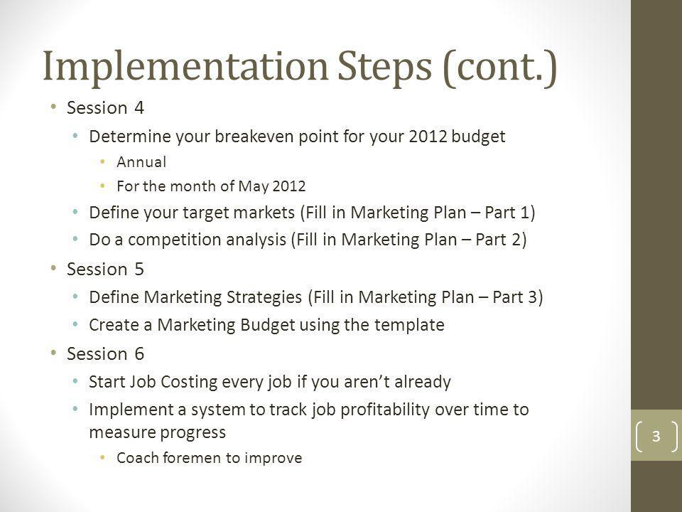Session 4 Determine your breakeven point for your 2012 budget Annual For the month of May 2012 Define your target markets (Fill in Marketing Plan – Pa