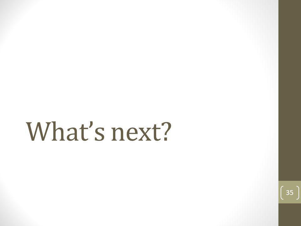 Whats next? 35