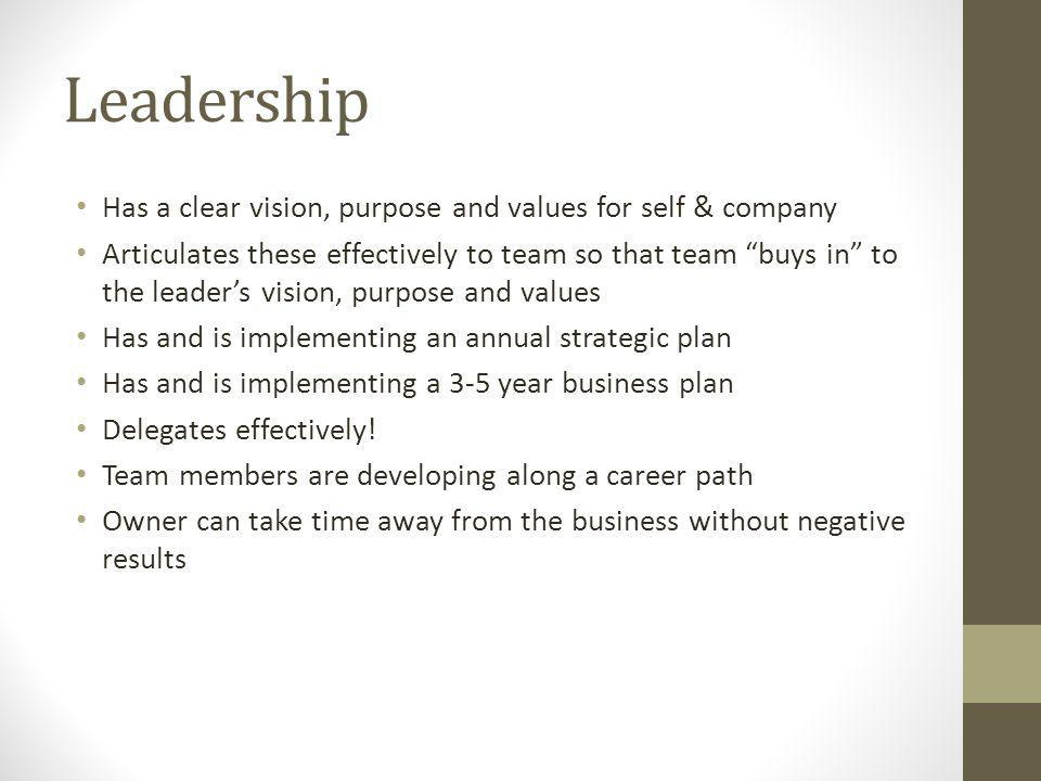 Has a clear vision, purpose and values for self & company Articulates these effectively to team so that team buys in to the leaders vision, purpose an
