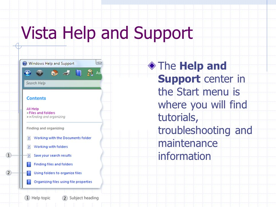 Vista Help and Support The Help and Support center in the Start menu is where you will find tutorials, troubleshooting and maintenance information