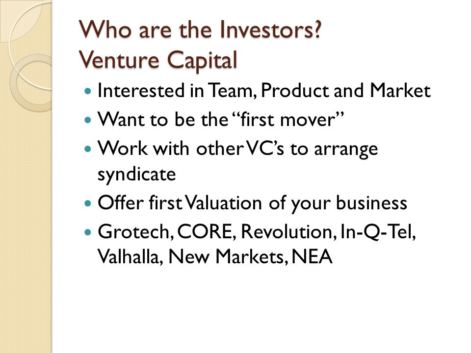 Who are the Investors.