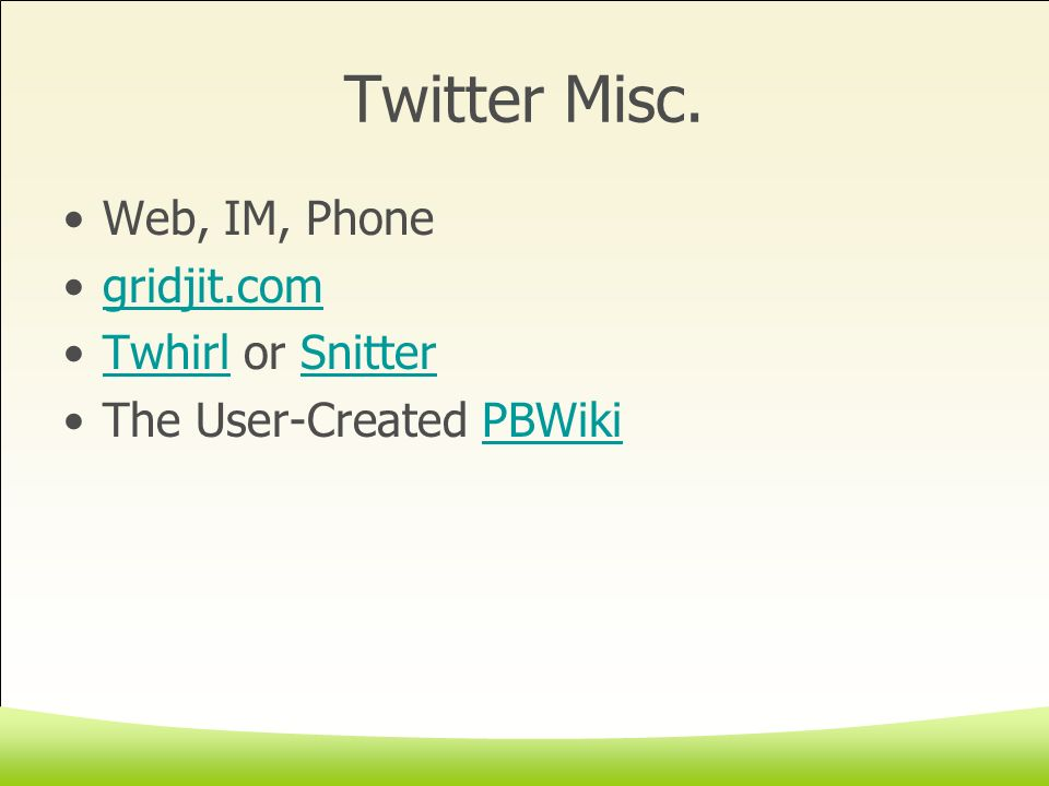 Twitter Misc.