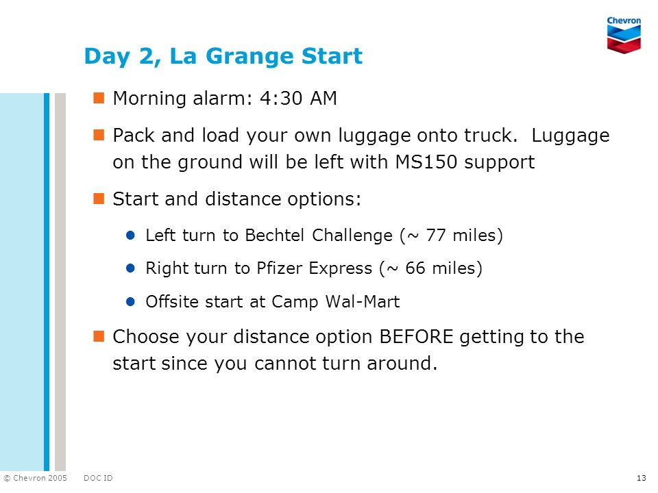 DOC ID © Chevron 2005 13 Day 2, La Grange Start Morning alarm: 4:30 AM Pack and load your own luggage onto truck. Luggage on the ground will be left w