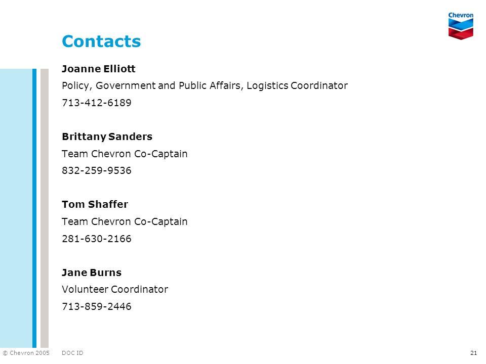 DOC ID © Chevron 2005 Contacts Joanne Elliott Policy, Government and Public Affairs, Logistics Coordinator 713-412-6189 Brittany Sanders Team Chevron