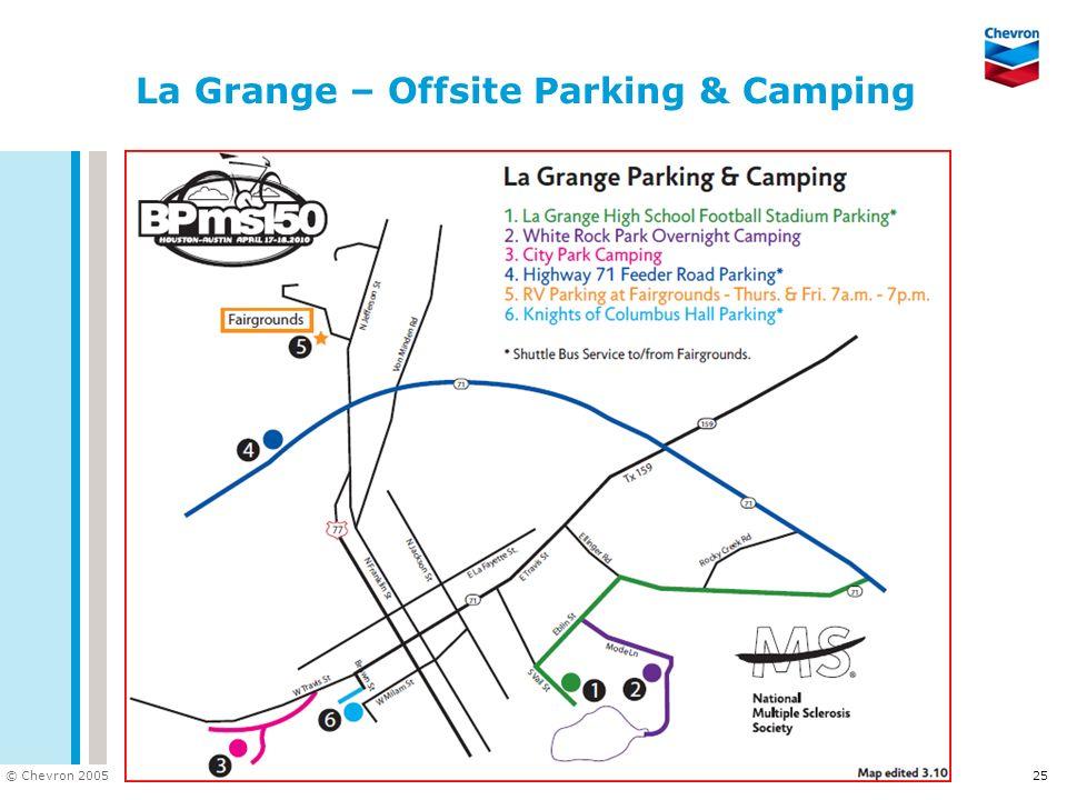 DOC ID © Chevron 2005 25 La Grange – Offsite Parking & Camping