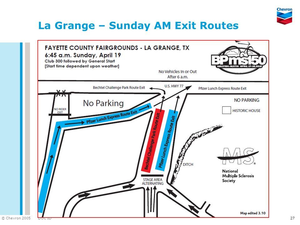 DOC ID © Chevron 2005 La Grange – Sunday AM Exit Routes 27