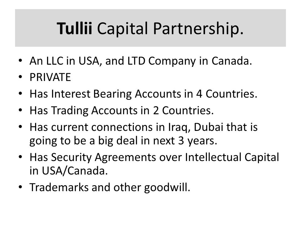 Tullii Capital Partnership. An LLC in USA, and LTD Company in Canada. PRIVATE Has Interest Bearing Accounts in 4 Countries. Has Trading Accounts in 2
