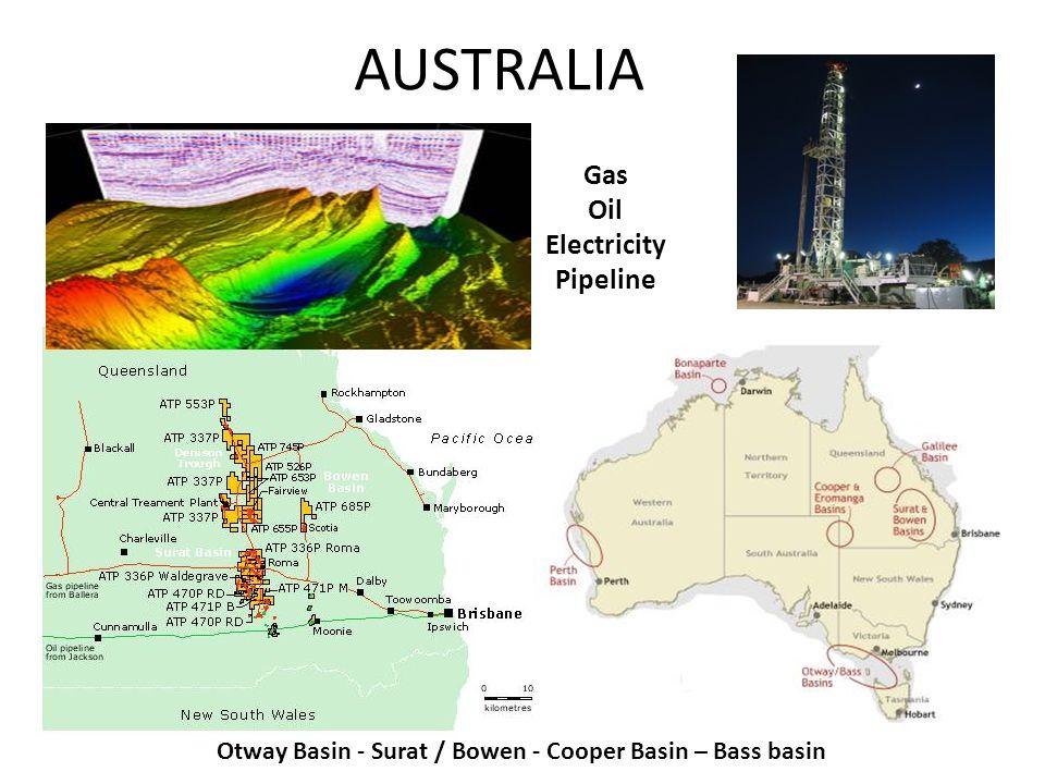 AUSTRALIA Gas Oil Electricity Pipeline Otway Basin - Surat / Bowen - Cooper Basin – Bass basin