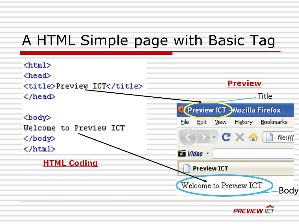 A HTML Simple page with Basic Tag Preview HTML Coding