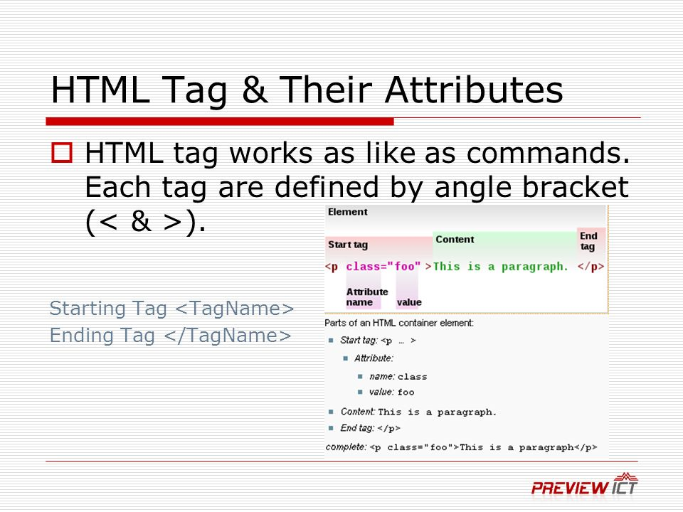 HTML Tag & Their Attributes HTML tag works as like as commands.