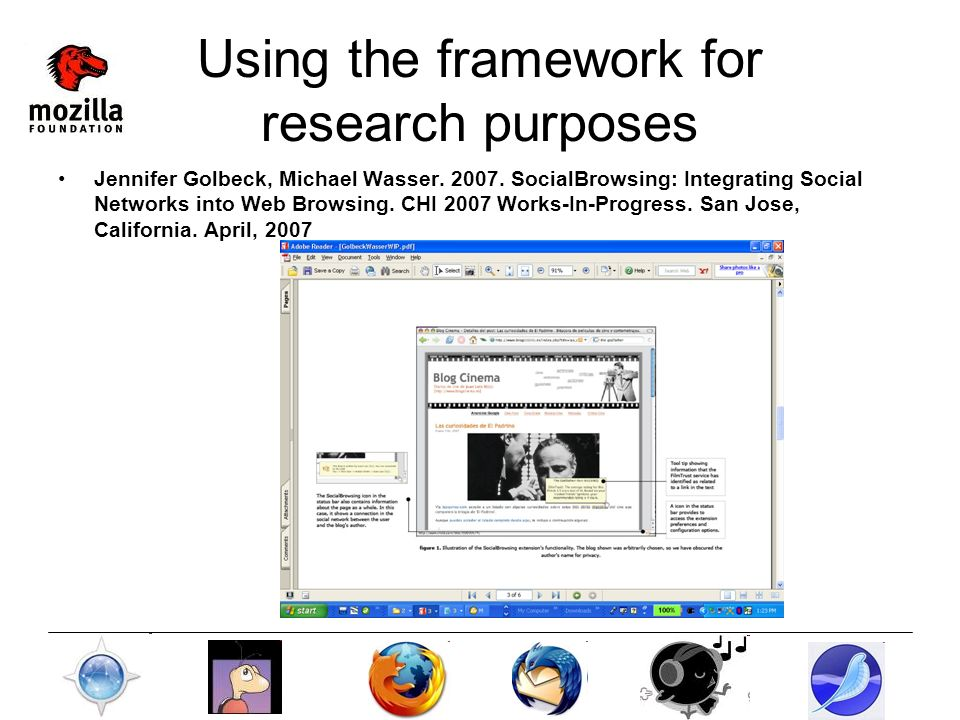 Using the framework for research purposes Jennifer Golbeck, Michael Wasser.