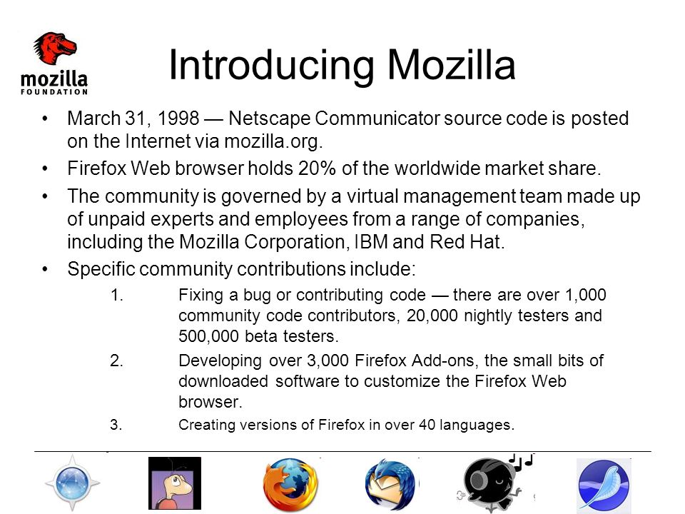 Introducing Mozilla March 31, 1998 Netscape Communicator source code is posted on the Internet via mozilla.org.