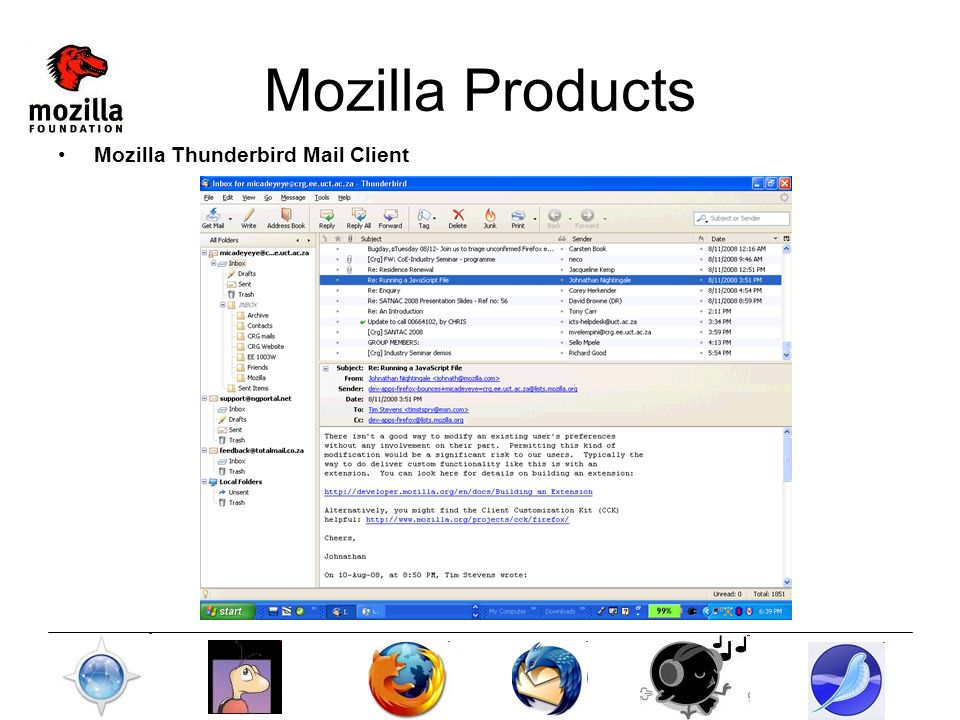 Mozilla Products Mozilla Thunderbird Mail Client