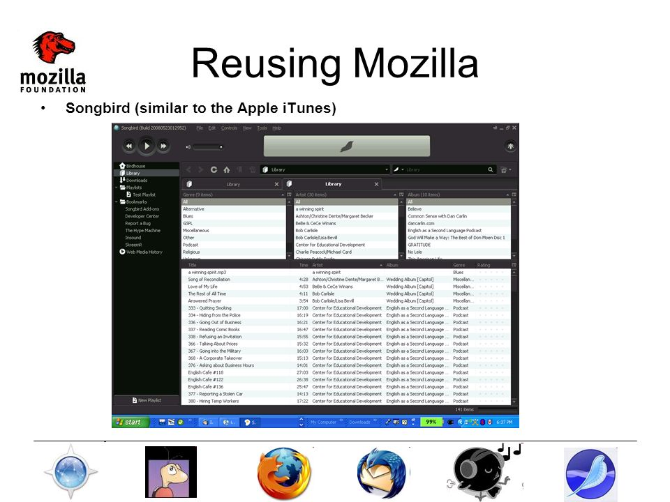 Reusing Mozilla Songbird (similar to the Apple iTunes)