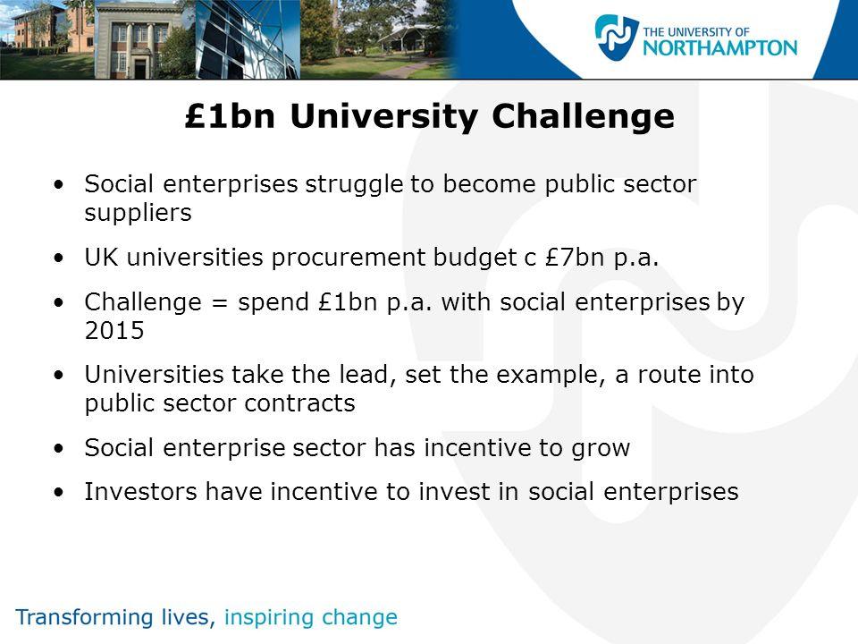 £1bn University Challenge Social enterprises struggle to become public sector suppliers UK universities procurement budget c £7bn p.a. Challenge = spe