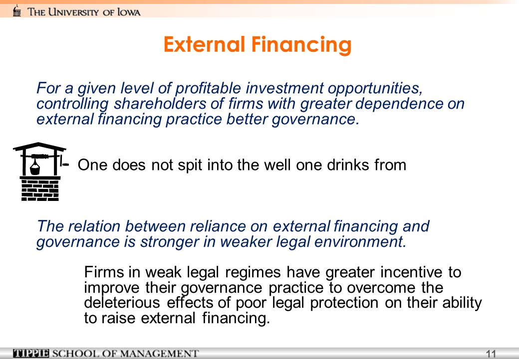 11 External Financing For a given level of profitable investment opportunities, controlling shareholders of firms with greater dependence on external financing practice better governance.