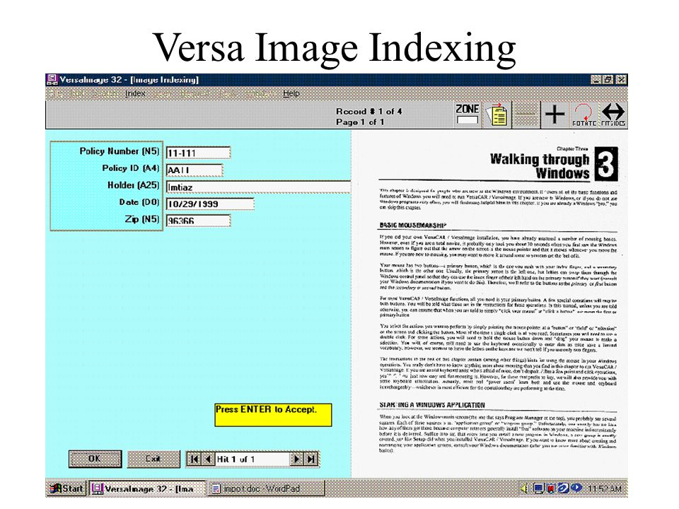 Versa Image Indexing