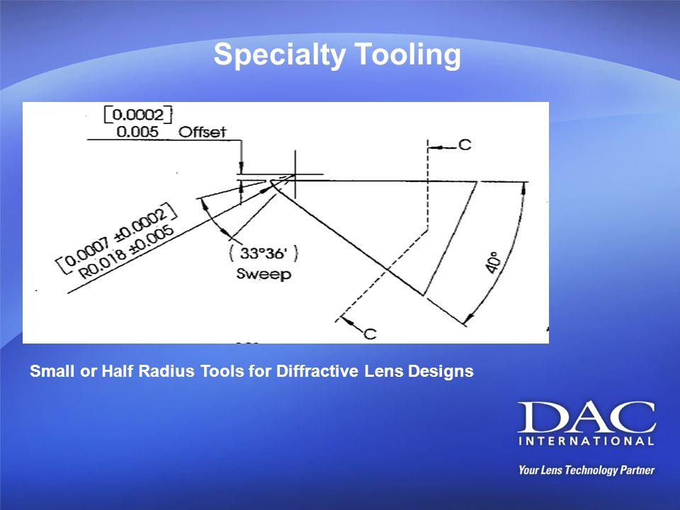 Specialty Tooling Small or Half Radius Tools for Diffractive Lens Designs
