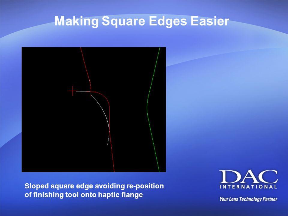 Making Square Edges Easier Sloped square edge avoiding re-position of finishing tool onto haptic flange