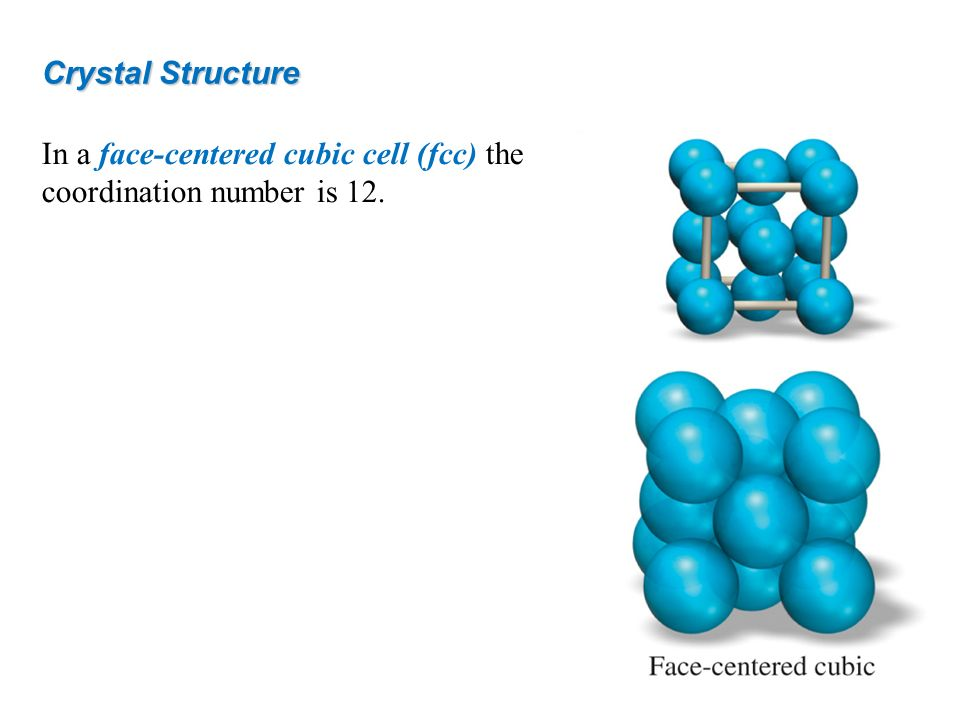 In a face-centered cubic cell (fcc) the coordination number is 12. Crystal Structure
