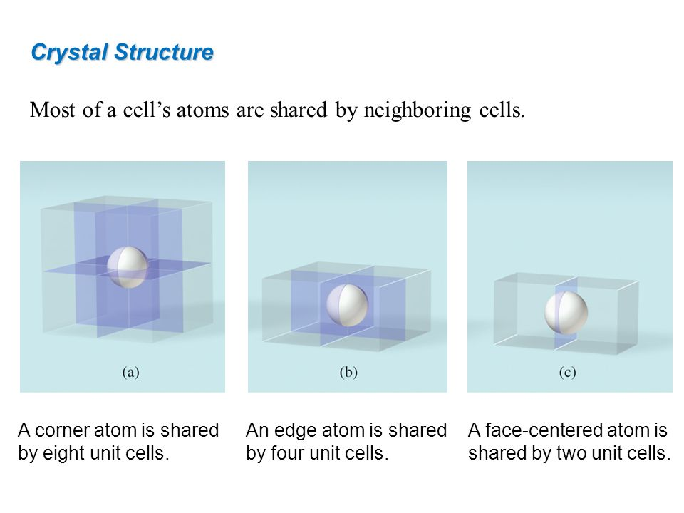 Most of a cells atoms are shared by neighboring cells. Crystal Structure A corner atom is shared by eight unit cells. An edge atom is shared by four u