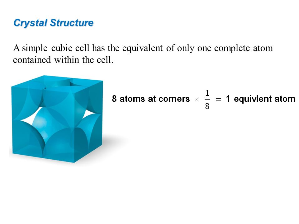 A simple cubic cell has the equivalent of only one complete atom contained within the cell. Crystal Structure