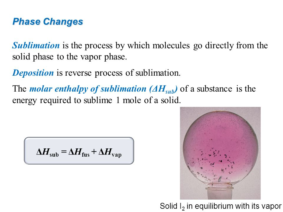 Sublimation is the process by which molecules go directly from the solid phase to the vapor phase. Deposition is reverse process of sublimation. The m