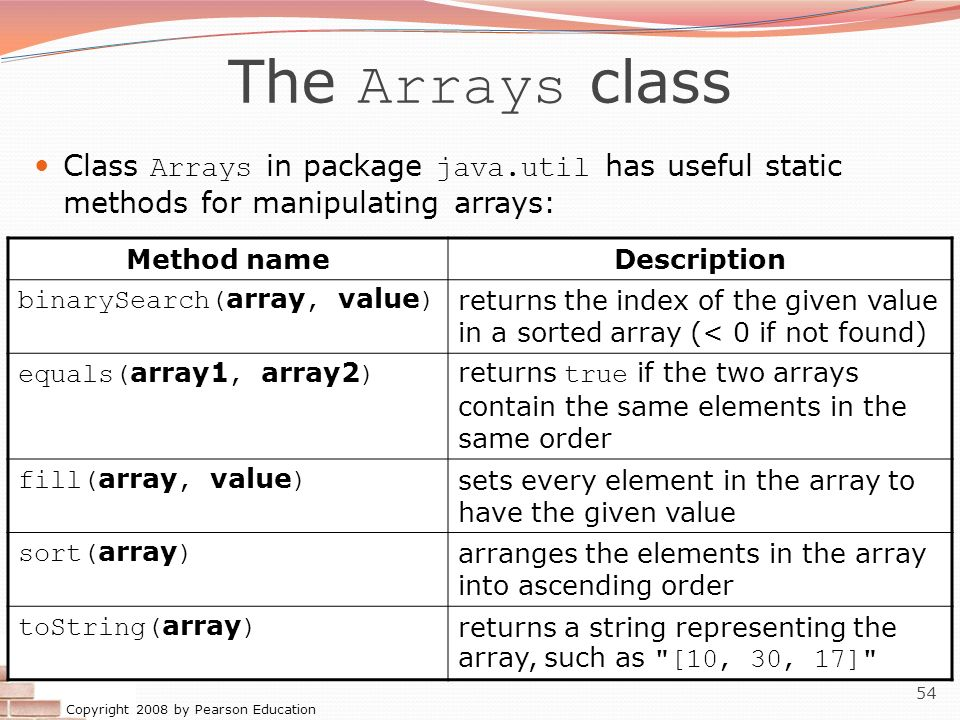 Copyright 2008 by Pearson Education 54 The Arrays class Class Arrays in package java.util has useful static methods for manipulating arrays: Method na